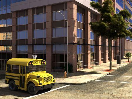 schulgeb�ude: Funny Konzept Schulbus auf der Stra�e