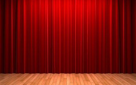 cortinas rojas: Escena de apertura de cortina de terciopelo rojo