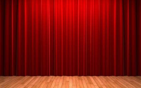 red stage curtain: Red velvet curtain opening scene