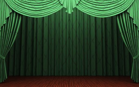 opulence: green velvet curtain opening scene  Stock Photo