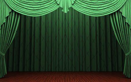 stage curtain: green velvet curtain opening scene  Stock Photo