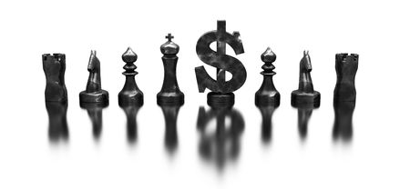 dollar symbol among the chess figures Stock Photo - 6098516
