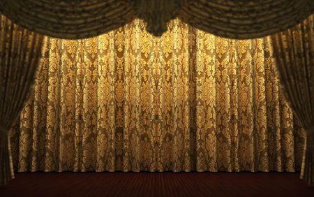 opulence: yellow velvet curtain opening scene