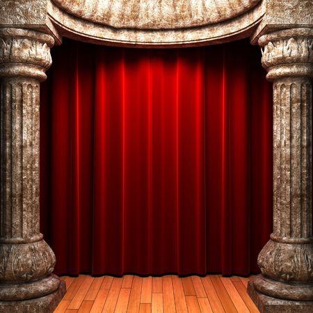 cortinas de terciopelo rojo detrás de las columnas de piedras