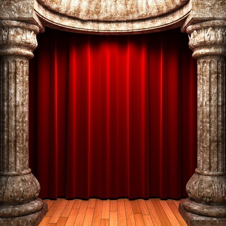 opulence: red velvet curtains behind the stone columns