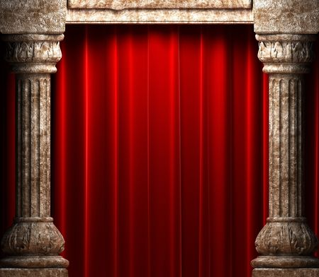 red velvet curtains behind the stone columns  photo