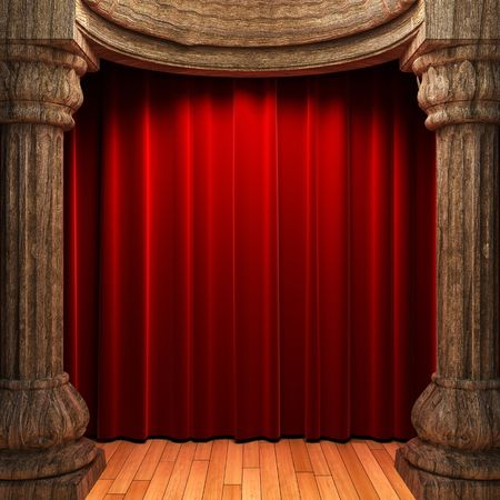 red velvet curtains behind the old wood columns Stock Photo - 6130935