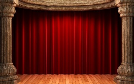 red velvet curtains behind the old wood columns  photo