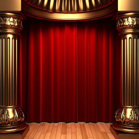curtain theatre: red velvet curtains behind the gold columns