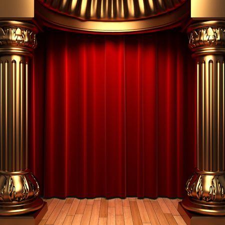 rideaux rouge: Rideaux de velours rouge derri�re les colonnes or