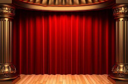 terciopelo rojo: cortinas de terciopelo rojo detr�s de las columnas de oro  Foto de archivo