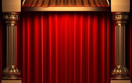 cortinas rojas: cortinas de terciopelo rojo detr�s de las columnas de oro  Foto de archivo