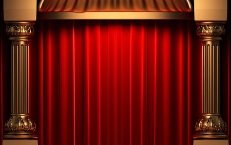 red velvet curtains behind the gold columns  photo