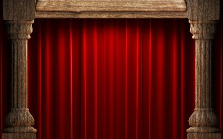 opulent: red velvet curtains behind the old wood columns