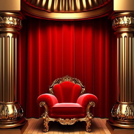 Stuhl: Red Samtvorh�nge, gold Spalten und Stuhl