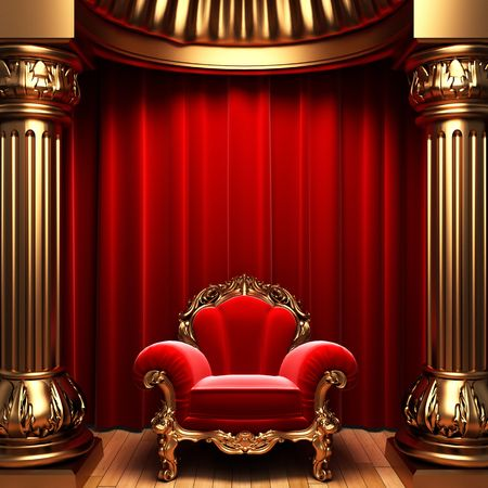 columns: red velvet curtains, gold columns and chair