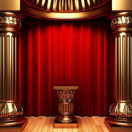 red velvet curtains, gold columns and Pedestal  photo