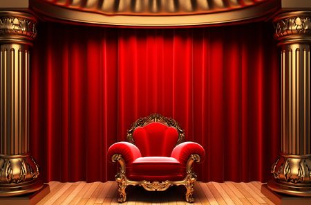 red velvet curtains, gold columns and chair  photo
