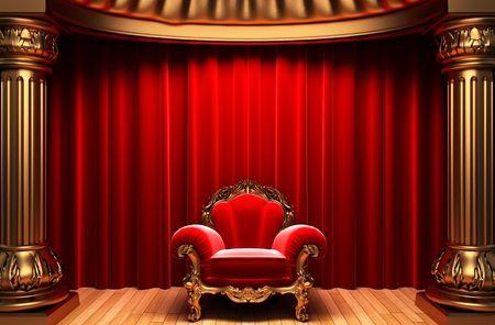 velvet: red velvet curtains, gold columns and chair