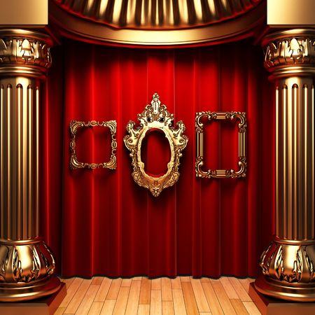 rideaux rouge: rideaux rouge, or colonnes et cadre  Banque d'images