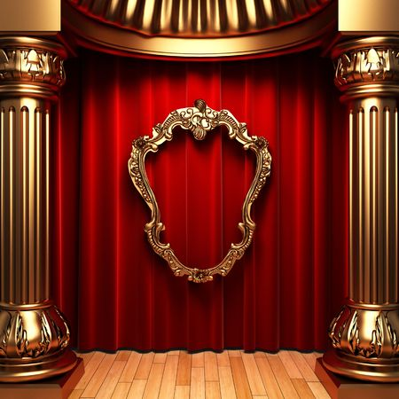 red curtains, gold columns and frame Stock Photo - 6138816