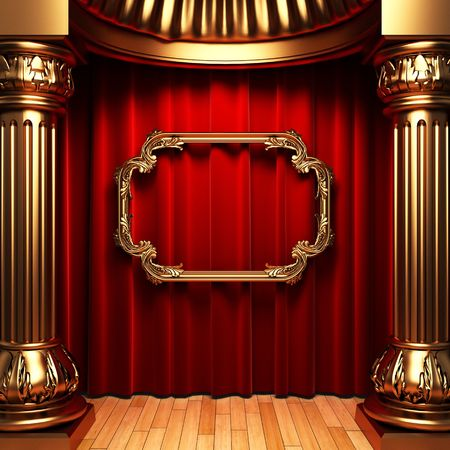 cortinas rojas: cortinas rojas, columnas de oro y marco