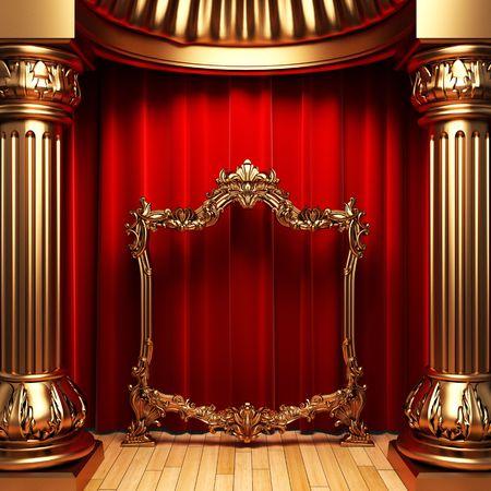 rideaux rouge: des rideaux rouges, colonnes d'or et le cadre Banque d'images