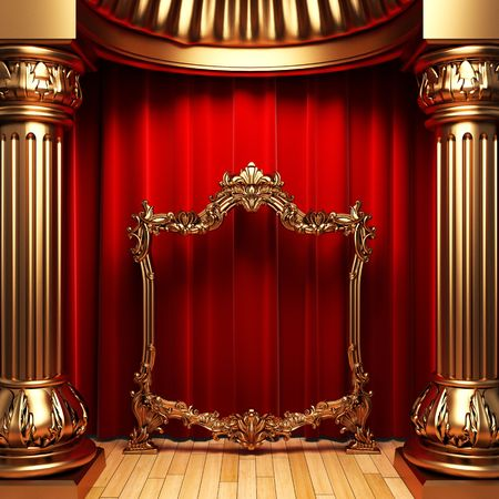 stage background: red curtains, gold columns and frame