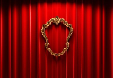 red curtains, gold frame  photo