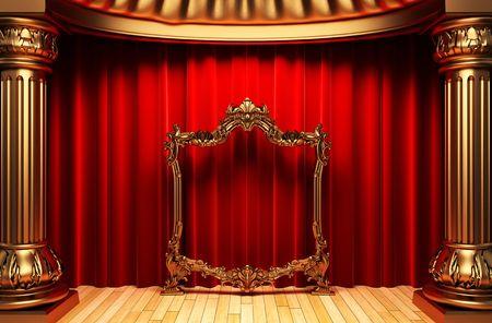 rideaux rouge: Rideaux rouge, or colonnes et image