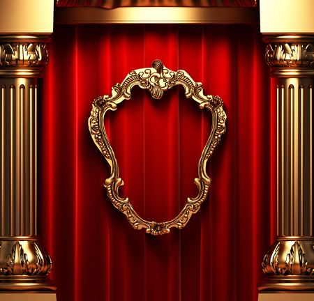 red curtains, gold columns and frame Stock Photo - 6138808