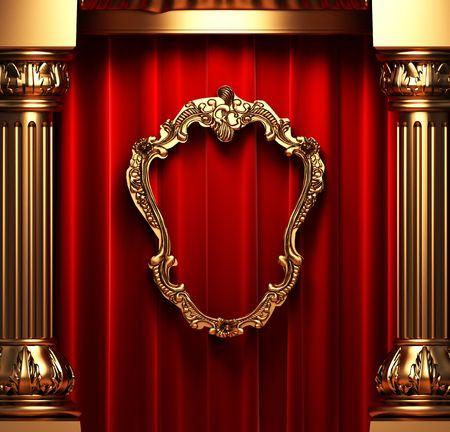 velvet: red curtains, gold columns and frame