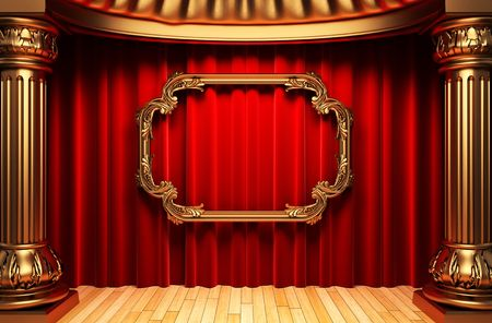 red curtains, gold columns and frame Stock Photo - 6138819