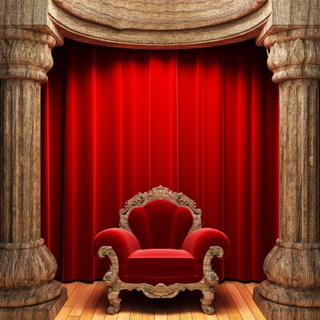 red velvet curtains, wood columns and chair  photo