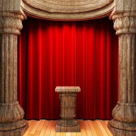 red velvet curtains, wood columns and Pedestal  photo