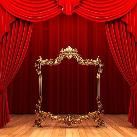 rideaux rouge: cadre de rideaux rouge, or