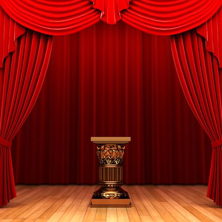 pedestal: Red velvet curtain and Pedestal