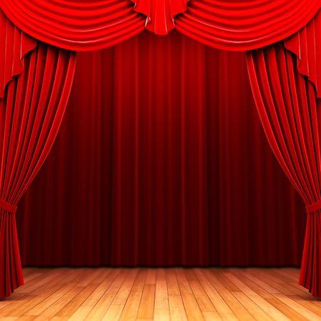 curtain theater: Escena de apertura de la cortina de terciopelo rojo  Foto de archivo