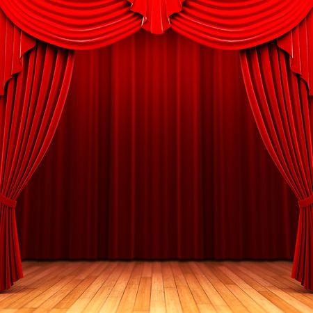 Red velvet curtain opening scene Stock Photo - 6177784