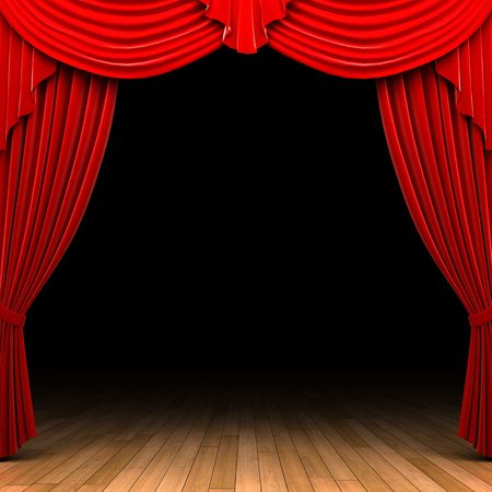 curtain theatre: Red velvet curtain opening scene
