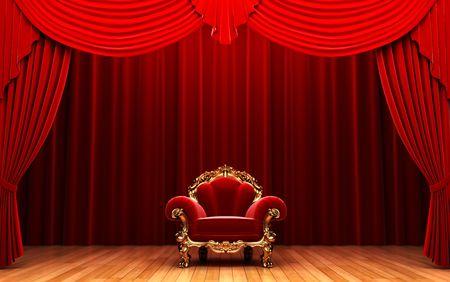 terciopelo rojo: Cortina de terciopelo rojo y silla