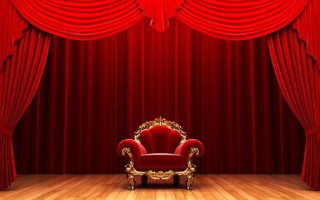 velvet: Red velvet curtain and chair  Stock Photo