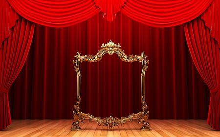 cortinas rojas: marco de cortinas rojas, oro