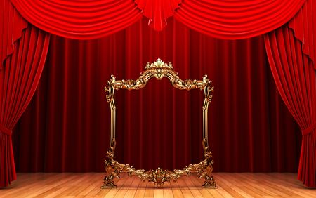 opulence: red curtains, gold frame  Stock Photo