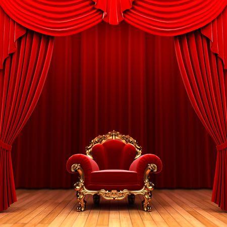 cortinas rojas: Cortina de terciopelo rojo y la silla
