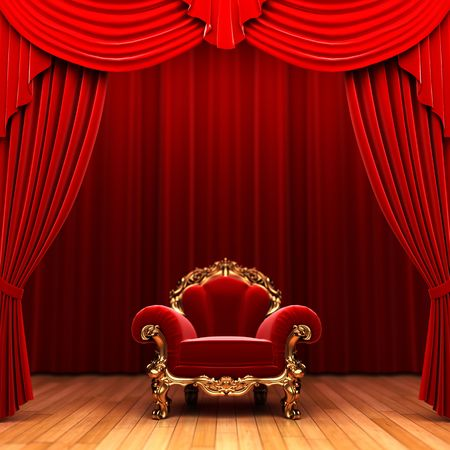 curtain theatre: Red velvet curtain and chair  Stock Photo