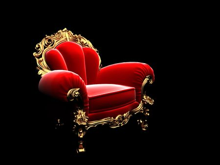 classic golden chair in the dark  Stock Photo - 6183631