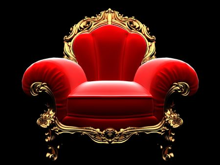 antiques: classic golden chair in the dark