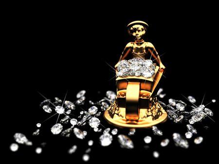 piedras preciosas: un lote de diamantes y la estatuilla dorada  Foto de archivo