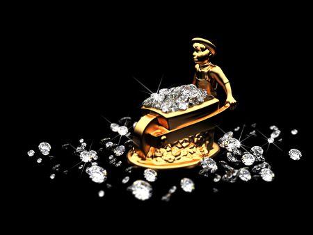 un sacco di diamanti e statuette dorate